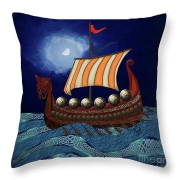 Throw Pillow featuring the digital art Viking Ship by Megan Dirsa-DuBois