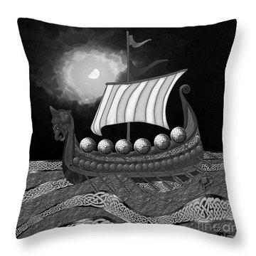 Throw Pillow featuring the digital art Viking Ship_bw by Megan Dirsa-DuBois