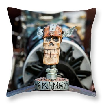 Throw Pillow featuring the photograph Viking Skull Hood Ornament by Chris Dutton