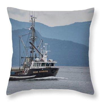 Viking Sunrise At Nw Bay Throw Pillow
