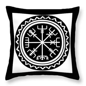 Throw Pillow featuring the digital art Viking Vegvisir Compass by Vagabond Folk Art - Virginia Vivier