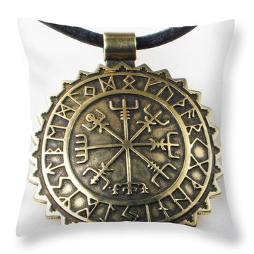 Throw Pillow featuring the jewelry Viking Vegvisir Compass With Rune Calendar - Bronze Pendant by Vagabond Folk Art - Virginia Vivier