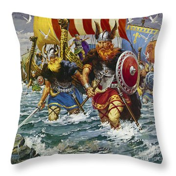 Vikings Throw Pillow by Jack Keay