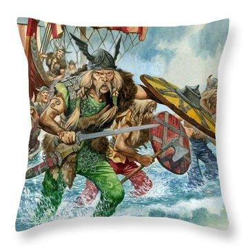 Vikings Throw Pillow by Pete Jackson