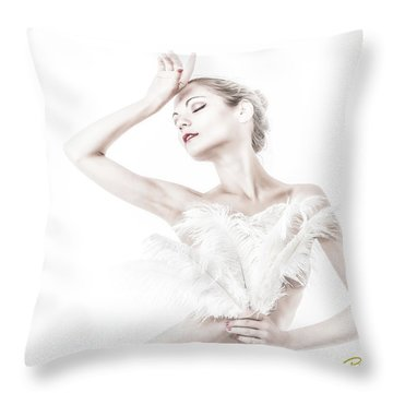 Viktory In White - Feathered Throw Pillow