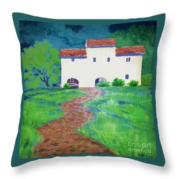 Throw Pillow featuring the painting Villa In Tuscany by Suzanne McKay