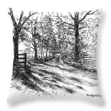 Villa Road At Sunset Throw Pillow