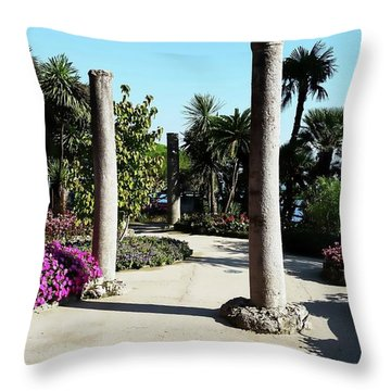 Throw Pillow featuring the digital art Villa Rufolo Gardens - Ravello, Italy by Joseph Hendrix