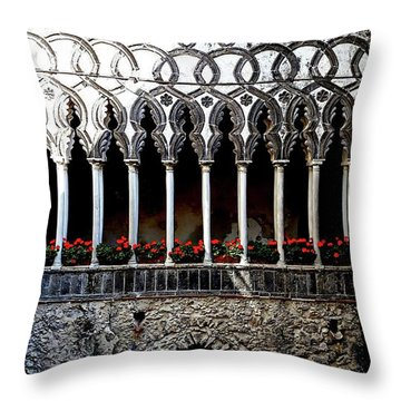 Throw Pillow featuring the digital art Villa Rufolo, Varello, Italy by Joseph Hendrix
