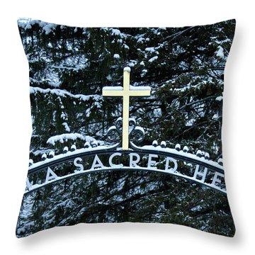 Throw Pillow featuring the photograph Villa Sacred Heart Winter Retreat Golden Cross by John Stephens