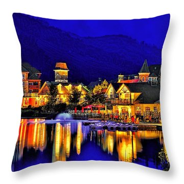 Village At Blue Hour Throw Pillow