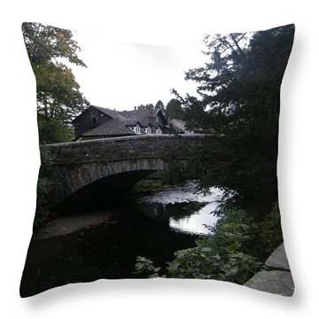 Village Bridge Throw Pillow