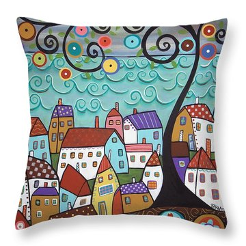 Village By The Sea Throw Pillow
