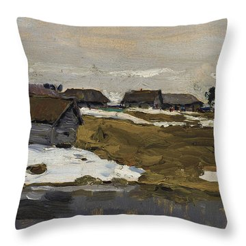 Village By The Water In Winter Throw Pillow