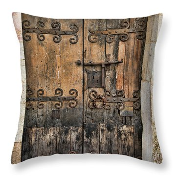 Village Chateau French Old Ancient Door Color  Throw Pillow