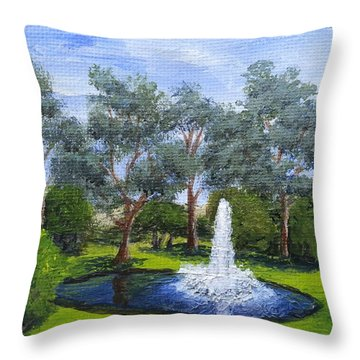 Village Fountain Throw Pillow