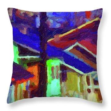 Village Houses Throw Pillow by Richard Farrington