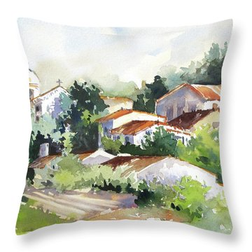 Village Life 5 Throw Pillow