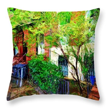 Village Life Sketch Throw Pillow by Randy Aveille