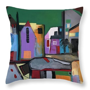 Village Near The City Throw Pillow