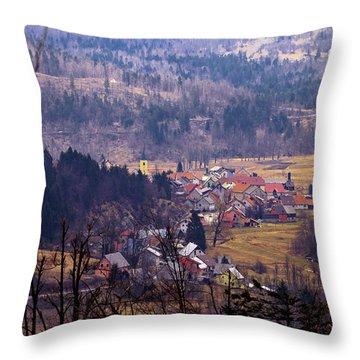 Village Of Lokve In Gorski Kotar  Throw Pillow