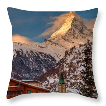 Village Of Zermatt With Matterhorn Throw Pillow