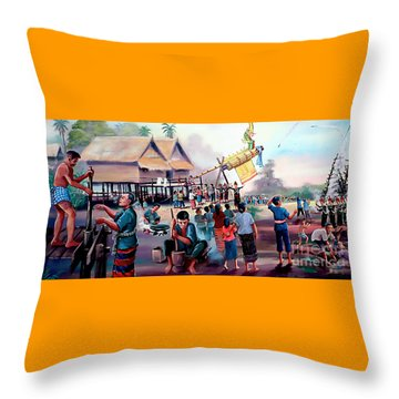 Village Rocket Festival-vintage Painting Throw Pillow by Ian Gledhill