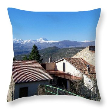 Village Rooftops Throw Pillow by Judy Kirouac