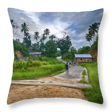 Throw Pillow featuring the photograph Village Scene by Charuhas Images