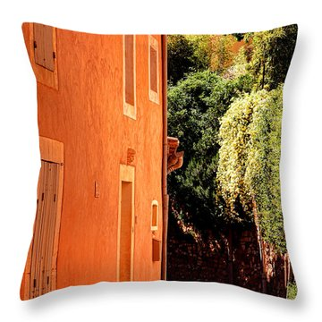 Throw Pillow featuring the photograph Village Street In Provence by Olivier Le Queinec