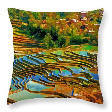 Throw Pillow featuring the photograph Village Terraces by Dennis Cox WorldViews