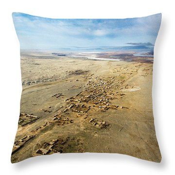 Village Toward Amu Darya River Throw Pillow