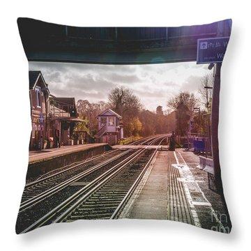 The Village Train Station Throw Pillow