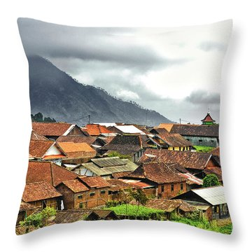 Throw Pillow featuring the photograph Village View by Charuhas Images