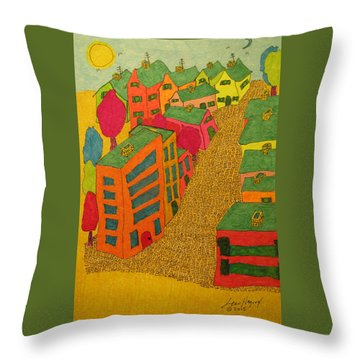 Village With Blue Sliver Moon Throw Pillow