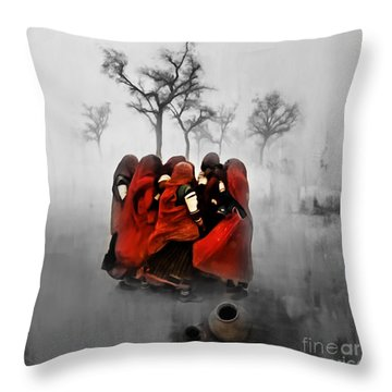 Village Women 01 Throw Pillow