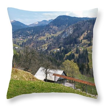 Villages In The Mountains Throw Pillow