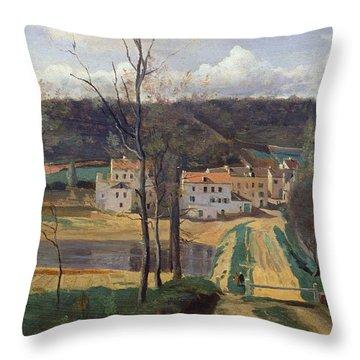 Ville Davray Throw Pillow by Jean Baptiste Camille Corot