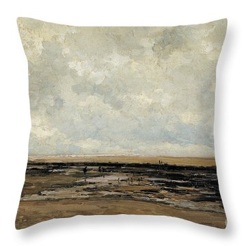 Villerville Beach In Normandy Throw Pillow