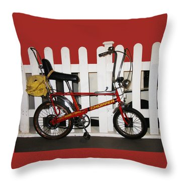 Vintage 1970s Bike With Rucksack  Throw Pillow