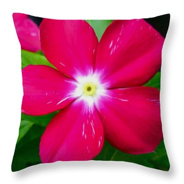 Vinca Flower Throw Pillow by Lanjee Chee