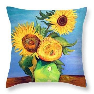 Vincent's Sunflowers Throw Pillow by Patricia Piffath