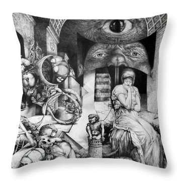 Vindobona Altarpiece IIi - Snakes And Ladders Throw Pillow by Otto Rapp