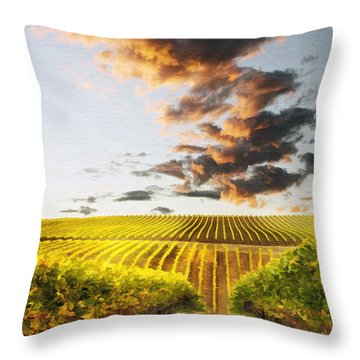 Vineard Aglow Throw Pillow by Sharon Foster