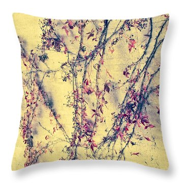 Vines On Yellow Wall Abstract Throw Pillow