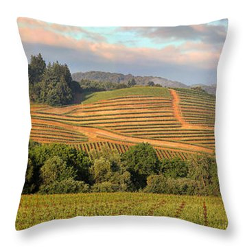 Vineyard In Dry Creek Valley, Sonoma County, California Throw Pillow by Wernher Krutein