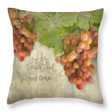 Vineyard - Napa Valley Vintner's Touch Pinot Grigio Grapes  Throw Pillow by Audrey Jeanne Roberts