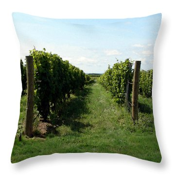 Vineyard On The Peninsula Throw Pillow by Michelle Calkins