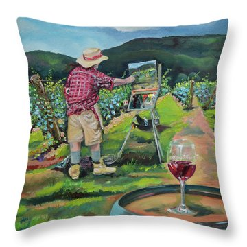 Throw Pillow featuring the painting Vineyard Plein Air Painting - We Paint With Wine by Jan Dappen