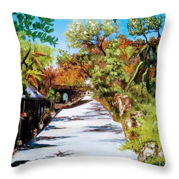 Throw Pillow featuring the painting Vineyard by Ray Khalife